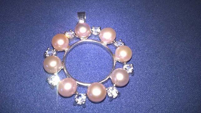 Pandantiv perle naturale de cultura placat cu aur 18K