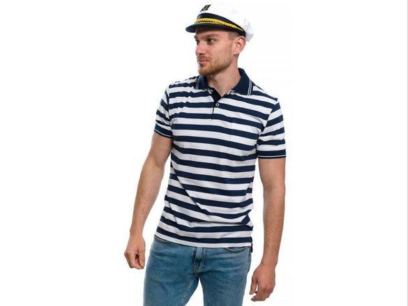 Нов мъжки комплект: моряшка блуза с яка и капитанска шапка