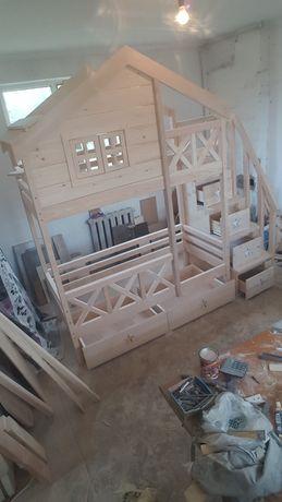 Кровать домик детская двухярусная