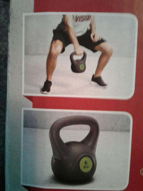 Gantera sferica 6kg, cu maner larg, fitness, noua, in cutie