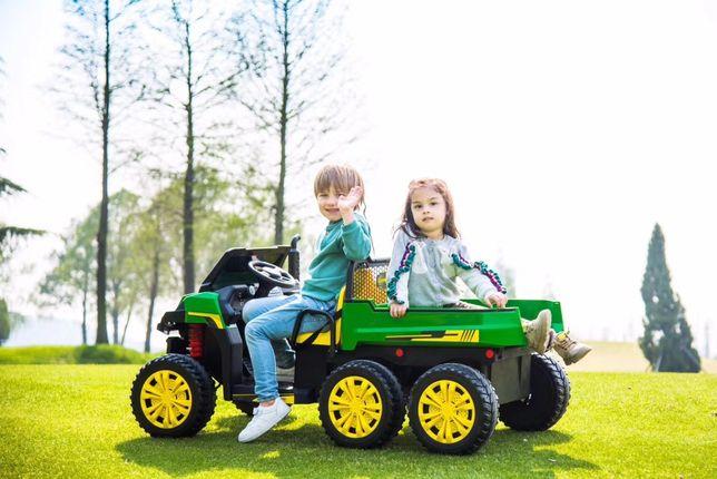"""Masinuta electrica pt copii """"Tractor tip ferma"""" 4x4 cu remorca (A730)"""