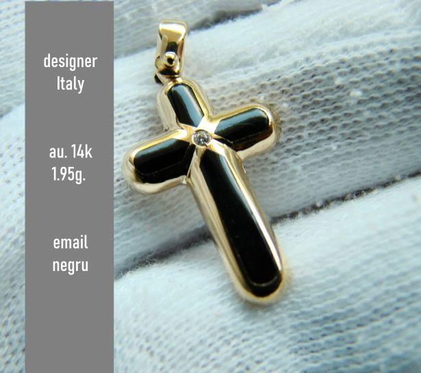 Cruciulita Cruce Aur Designer 14K Email Negru Targu-Mures - imagine 1