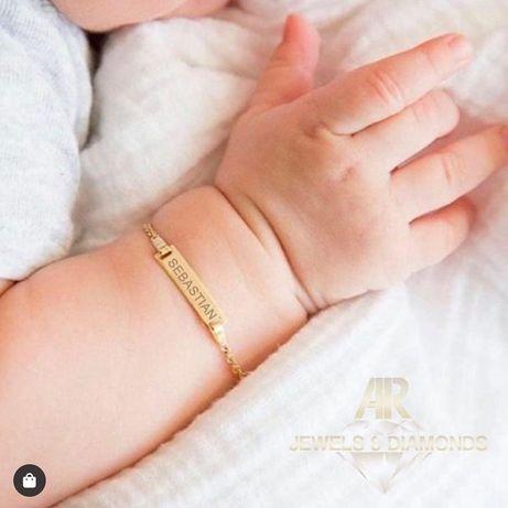 Bratara Aur 14 K Baby plate pentru cei mici nou nascuti (AR2154)