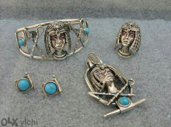 РЪЧНА ИЗРАБОТКА - сребърен комплект Нефертити