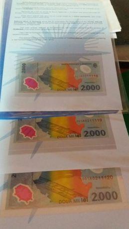 Lot 3 bancnote de 2000 lei serii consecutive 001A