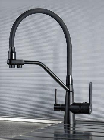Смеситель для кухни с гибким съёмным изливом и подключением к фильтру