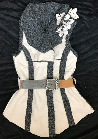 Vesta noua dama cojoc blana ecologica curea elastica ilic stil vintage