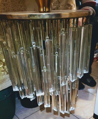 Promotie!Candelabru vintage din cristal masiv și alama anii 1930-1940