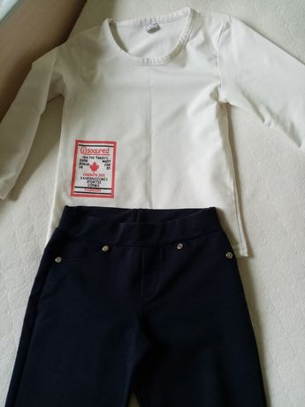 Белый блузка и тёмно сини  штаны