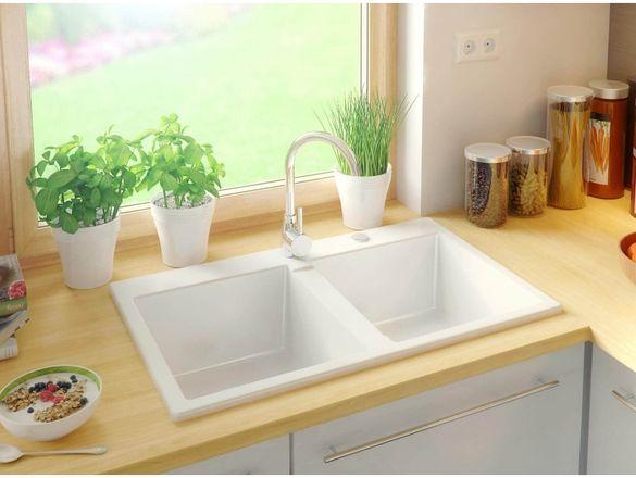 Гранитна Мивка за Кухня с отцедник модел Берген Бяла Антибактериална