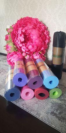 Фитнес коврики для йоги и спорта+Подарок (скакалка или резинка)