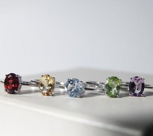 Vand bijuterii de argint cu pietre de diverse culori