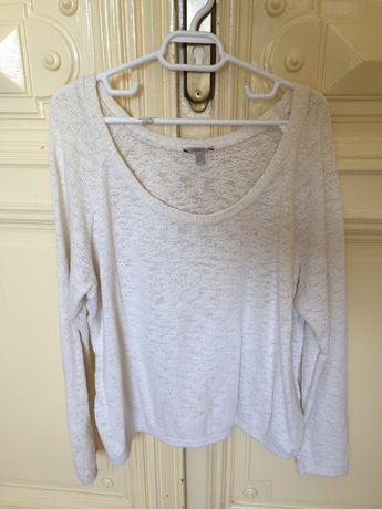 Pulover alb bumbac Zara