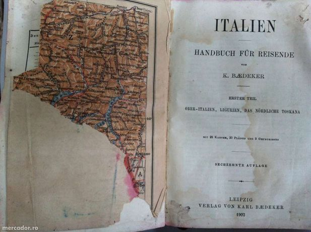 "Carte veche dictionar,atlas ""Baedeker's Ober Italien"" din 1902"