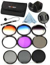 K&F Concept Комплект 9 филтъра UV CPL FLD 3 градиентни 3 ND + сенник