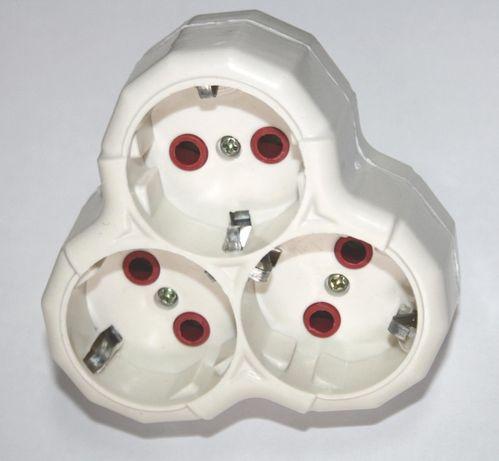 Разклонител 3 гнезда директно на контакт без кабел бял