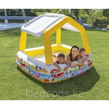 Детский надувной бассейн 157х157х122см с навесом , Intex 57470