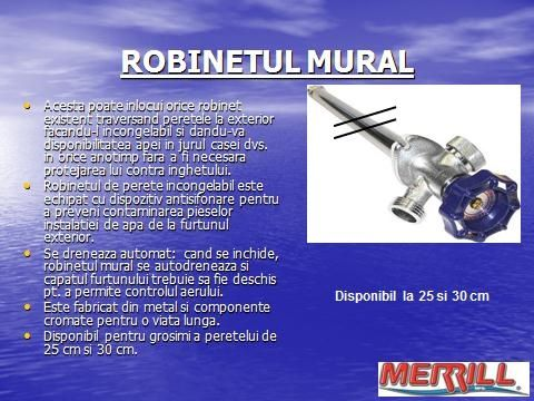 Robinet mural 30 cm- Produs profesional al MERRILL Mfg SUA