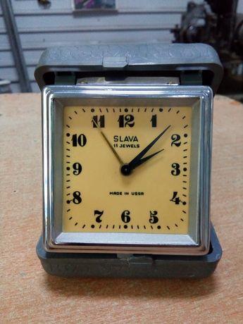 Дорожные часы будильник СССР Слава