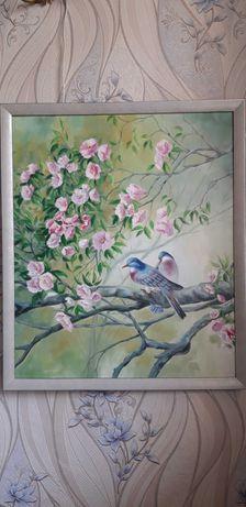 Картина маслом. Цветущая сакура. С подписью автора.