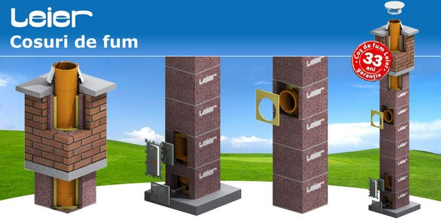Cos fum Leier Smart PROFESIONAL izolat,20cm,6metri,transport inclus