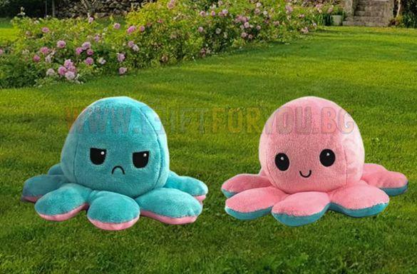 ТОП! Плюшен Октопод с Две Лица Тъжно и Весело Лице Подарък за Деца