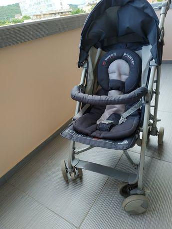 Страхотна детска количка Cam Micro Air тъмно синя, използвана от едно
