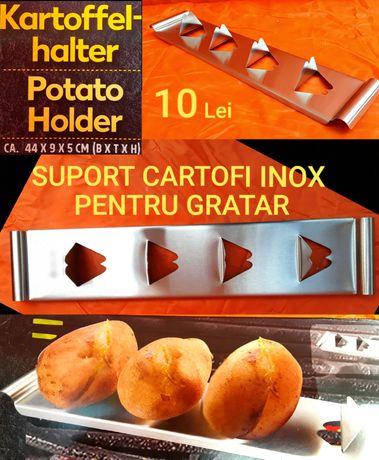 Suport copt cartofi pentru grătar din INOX 44x9x5 Cm - NOU - 10 Lei