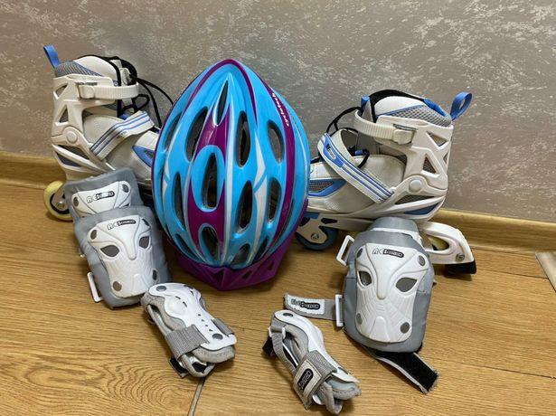 Коньки роликовые, шлем и защита