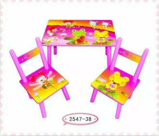 Masuta lemn cu 2 scaune pentru copii