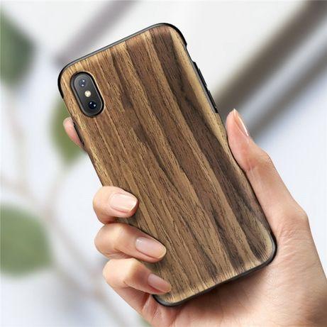 Дървен кейс от естествено дърво и каучук iPhone 11, X, XS, XR, XS Max