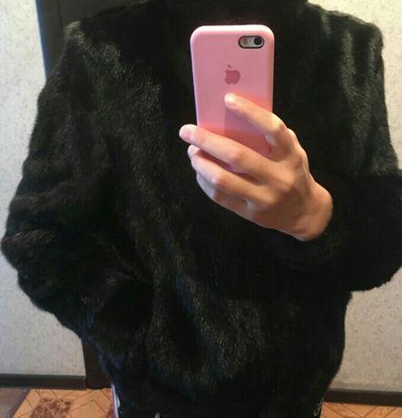 Норковая шуба. Цвет черный бриллиант