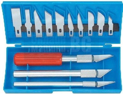 Комплект прецизни ножчета, 3 дръжки, 13 сменяеми остриета. Стомана