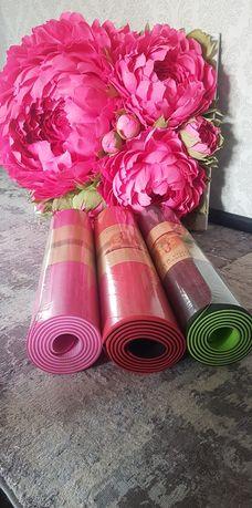 Коврики для йоги и фитнеса +подарок (резинка или скакалка)