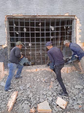 Разрушения бетона и кирпича отбойником BOSCH