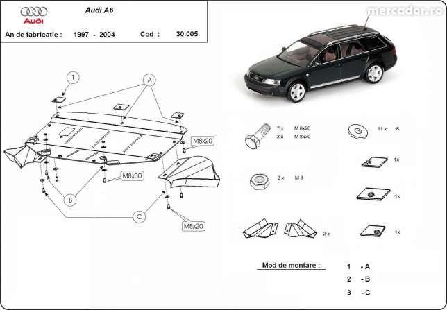 Scut metalic pentru motor Audi A6 1997-2004 - otel 2mm