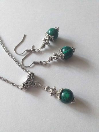 Прелестен комплект бижута с Малахит и орнаменти в цвят сребро