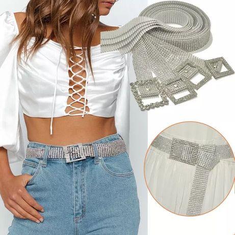 Curea Z1 diamante cristale argintie pietre paiete sclipici stil Zara