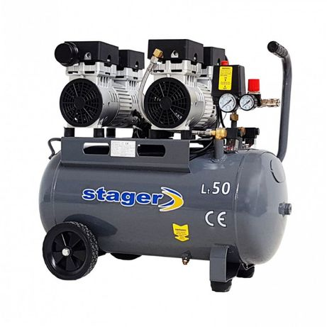 Compresor Aer SILENTIOS Stager HM50JW-0.75x2, 50L, 65dB, 330L/min.