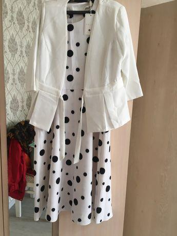 Платье новое белый пидажак платье в горошек
