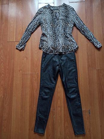Pantaloni imitație piele și cămașa animal print