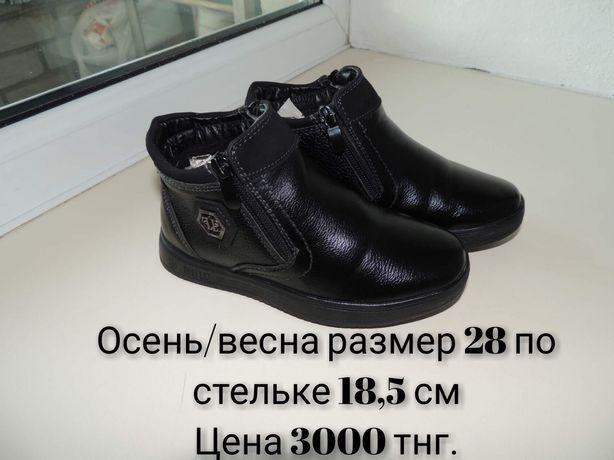 Осенние ботинки на флисе. Размер 28 по стельке 18.5 см.
