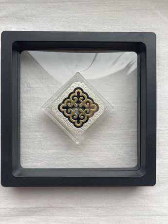 Серебрянная монета «Шаршы» с позолотой