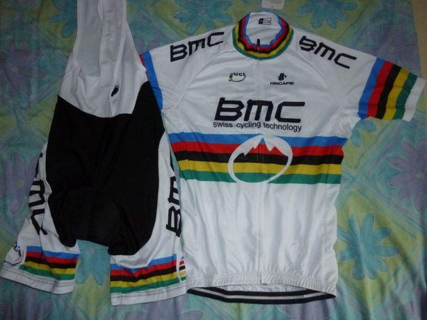 Echipament ciclism bmc uci world mtb set pantaloni tricou jersey bib
