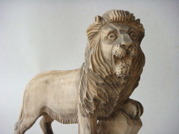 Lemn, vechi, Leu, Sculptura, veche, zodiac