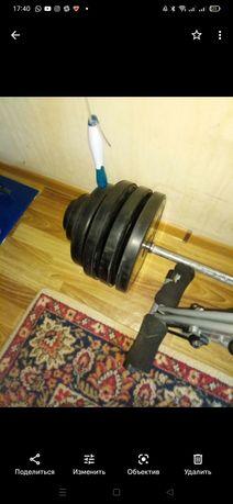 Штанга с блинами  100 кг и стойки под неё