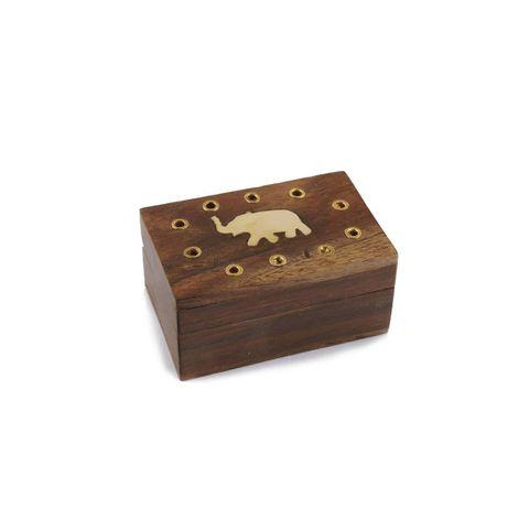 Caseta din lemn de mango cu alama,model cu elefant.bijuterii