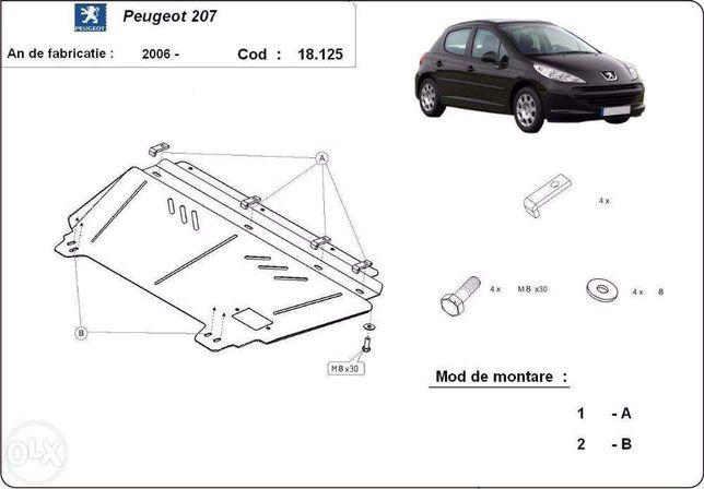 Scut metalic pentru motor Peugeot 207 2006 - prezent - otel 2mm
