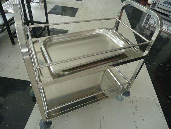 1.Сервитьорски колички на 2 - 3 нива от неръждавейка на колела висо