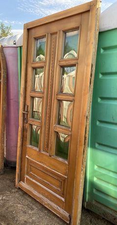 Usa casa firma intrare lemn geam vitraliu termopan H 217 x L 106